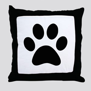Black Paw print Throw Pillow
